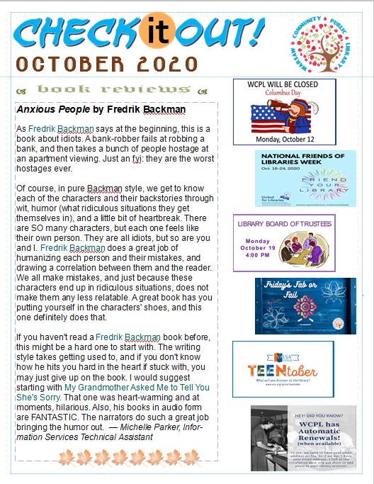 October 2020 Newsletter Front Page