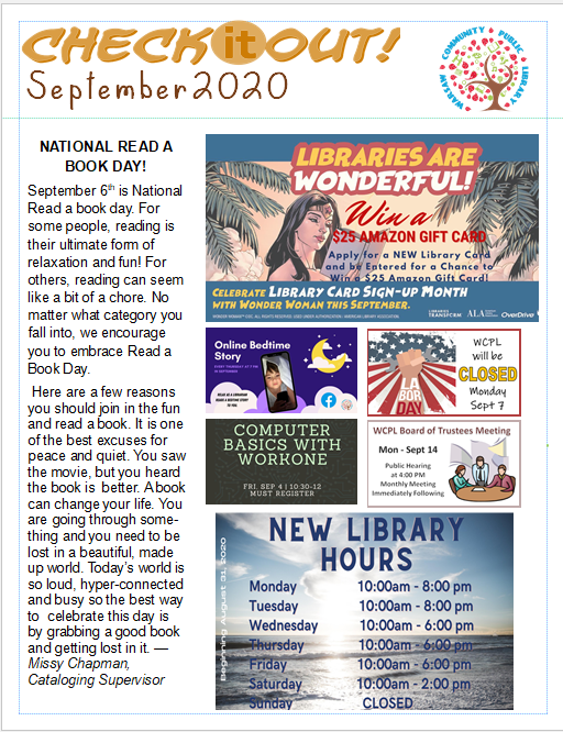 September 2020 Newsletter Front Page