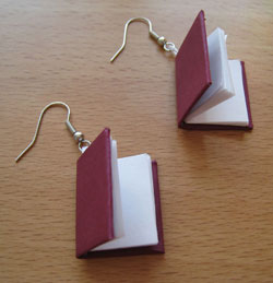 earrings made from small books