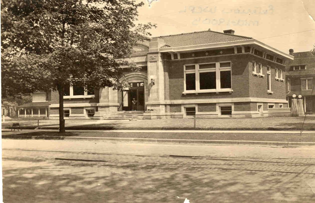 Warsaw Community Public Library exterior 1900's